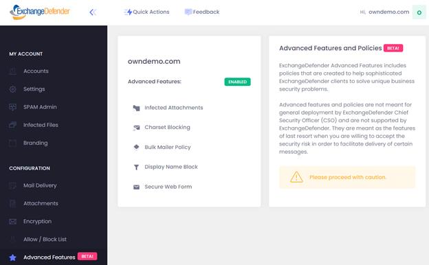 ExchangeDefender Advanced Features & Policies